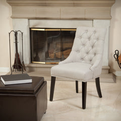 Adara Light Beige Tufted Linen Dining Chair