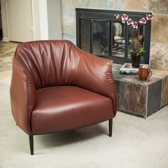 Adelina Brown Leather Accent Chair
