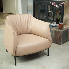 Adelina Camel Tan Leather Accent Chair