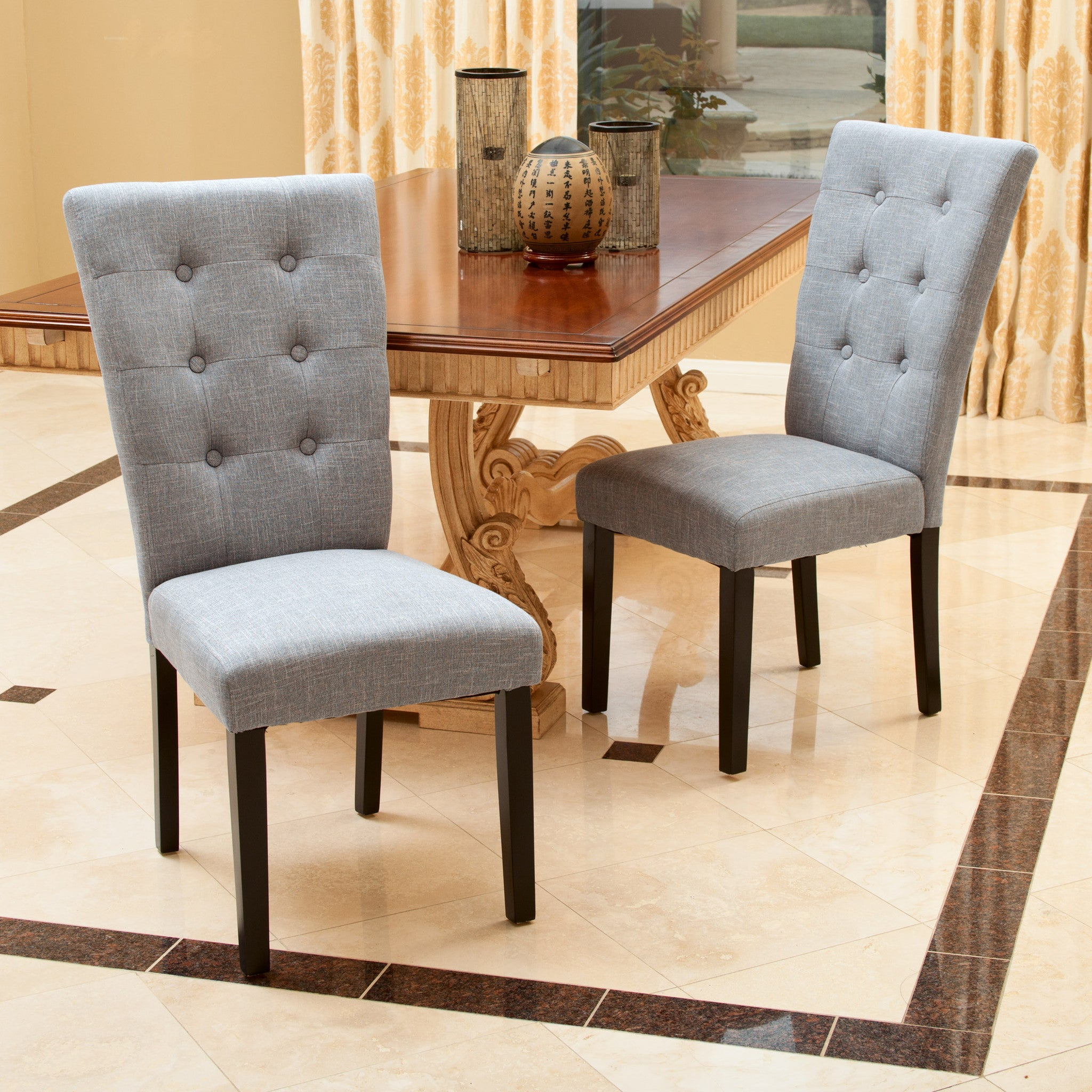 Leighton Grey Fabric Dining Chairs Set of 2