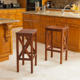 Casselberry Brown Mahogany Bar Stools (Set of 2)