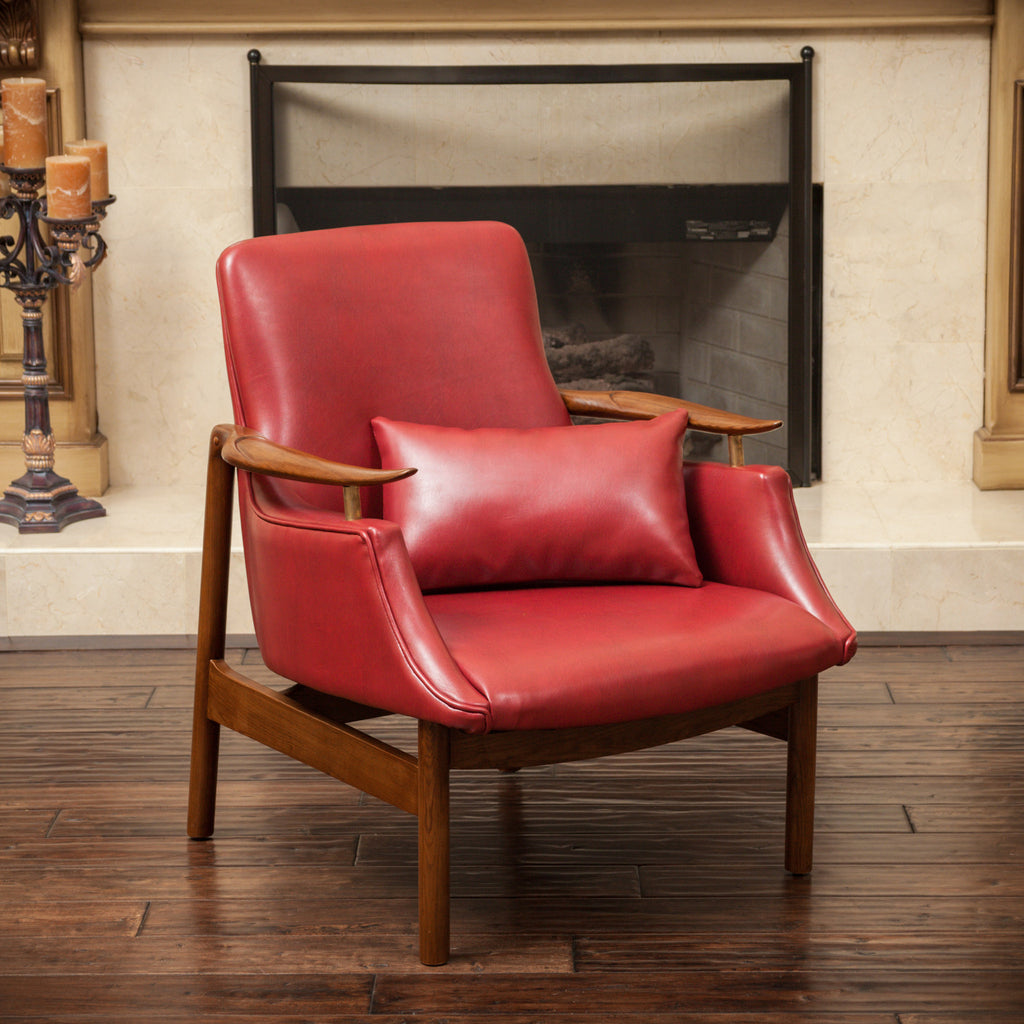 Braselton Red Leather Wood Frame Armchair
