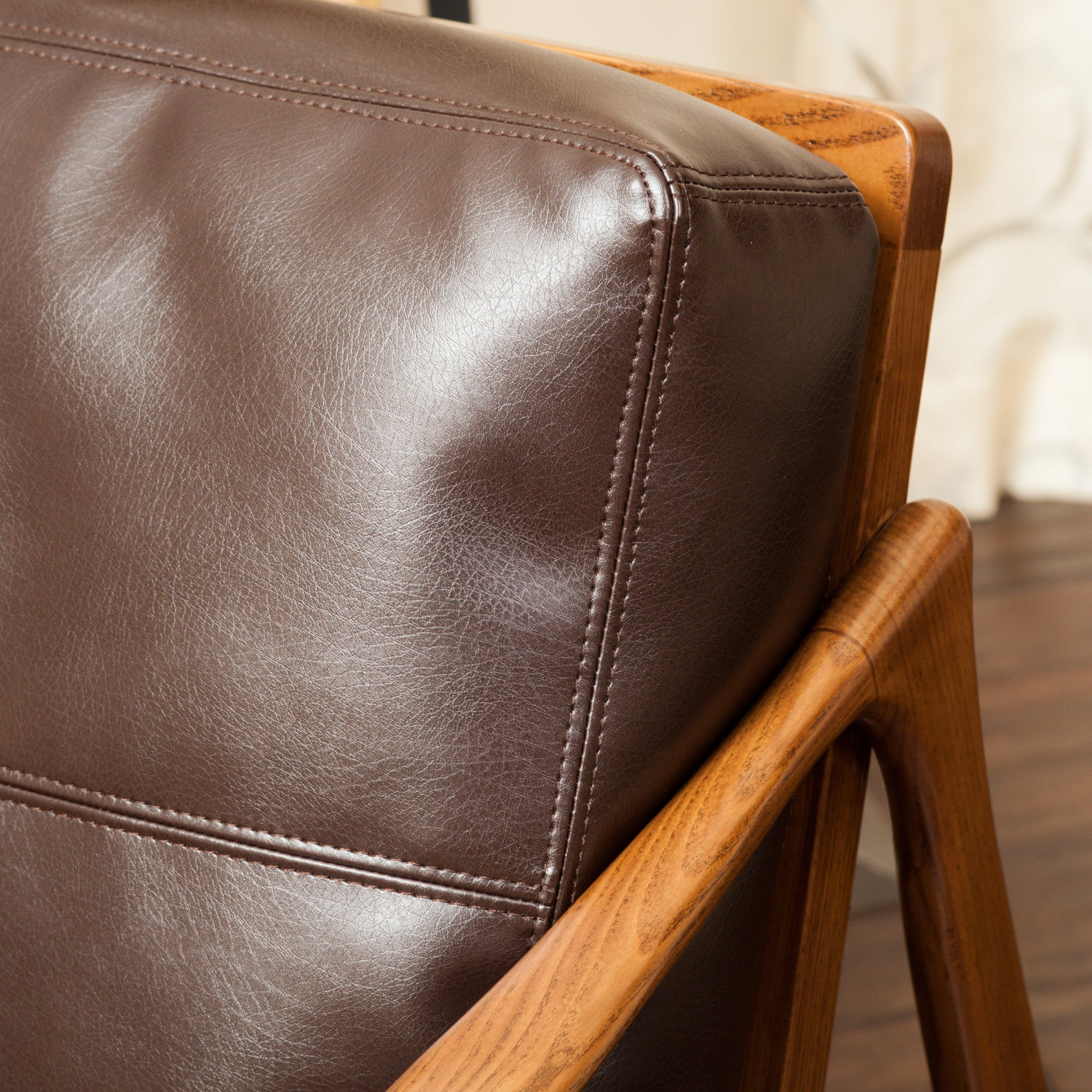 coolidge brown leather wood frame armchair