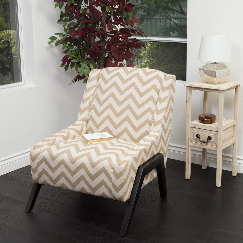 Bonita Camel Geometric Fabric Occasional Chair
