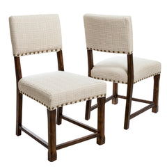 Aubrey Beige Pattern Fabric Dining Chairs (Set of 2)