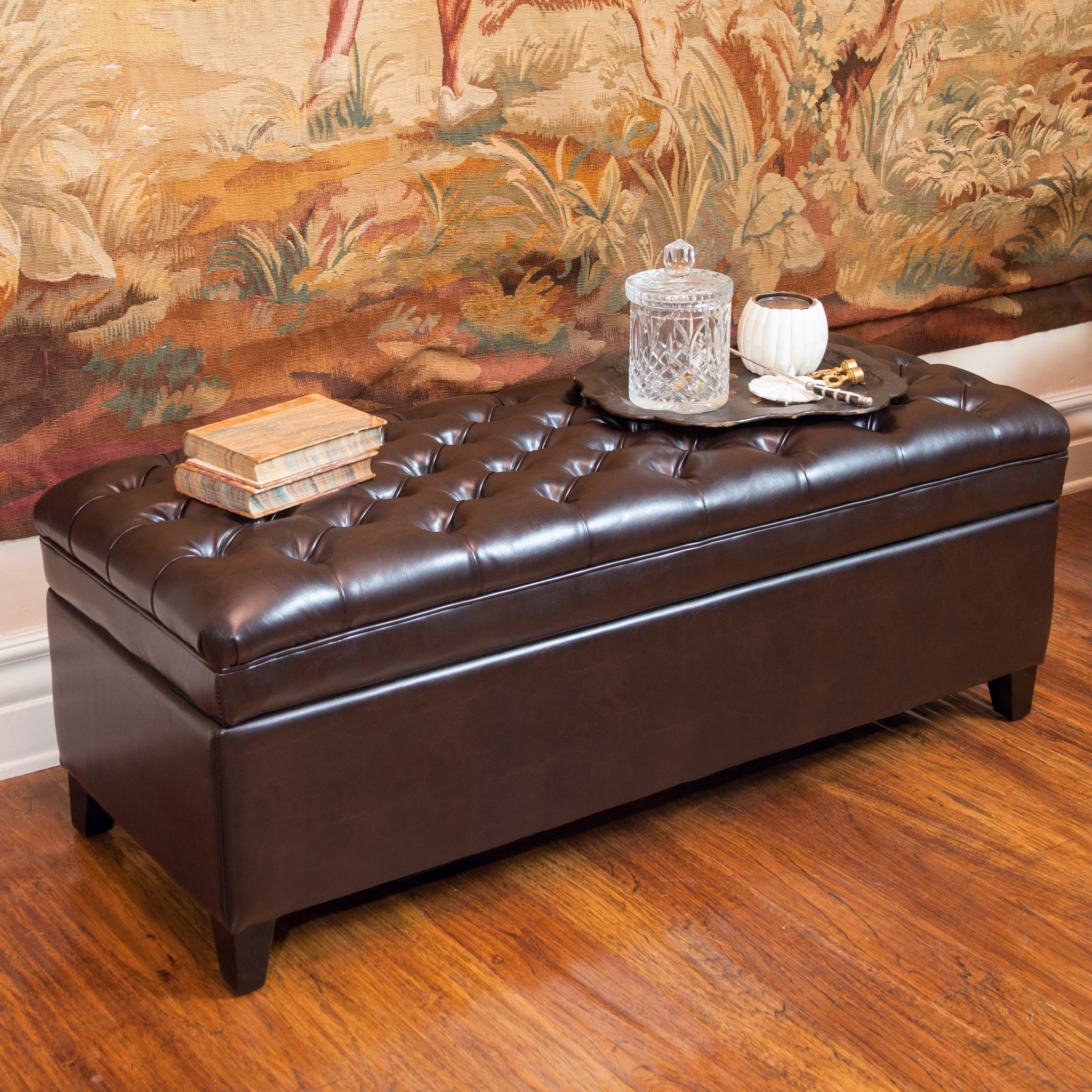 Barton Tufted Brown Leather Storage Ottoman Great Deal