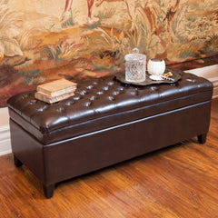 Barton Tufted Brown Leather Storage Ottoman