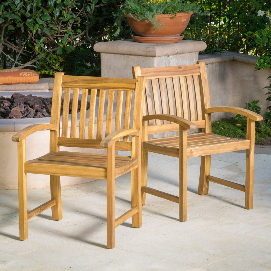 Carillo Natural Stained Wood Outdoor Dining Chairs (Set of 2)