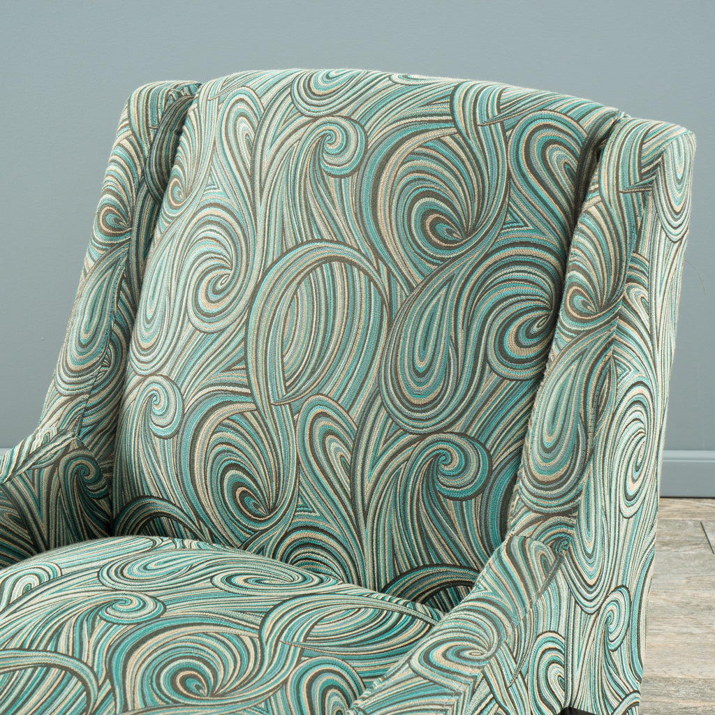 Bonita Green Blue Swirl Pattern Fabric Occasional Chair