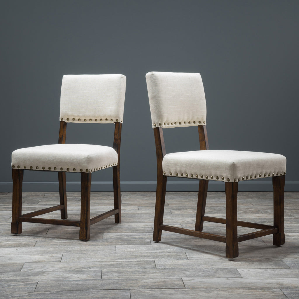 Aubrey Beige Fabric Dining Chairs (Set of 2)