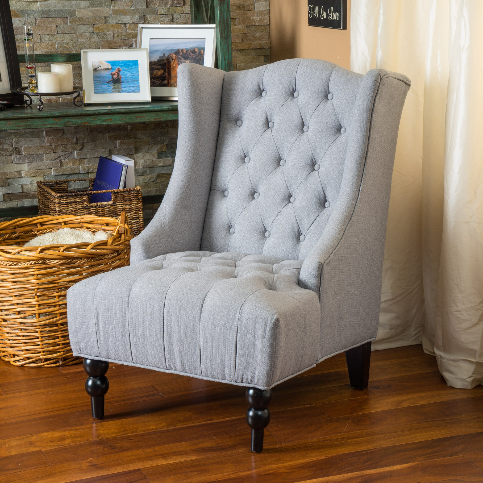 clarice tall wingback silver tufted fabric accent chair  great  - clarice tall wingback silver tufted fabric accent chair