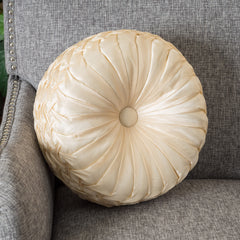 "14"" Round Single Champagne Sateen Accent Throw Pillow"