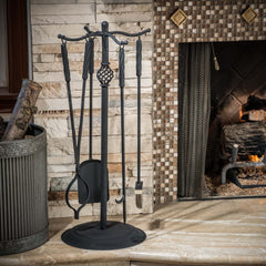 Charmaine 5pc Black Fireplace Tool Set