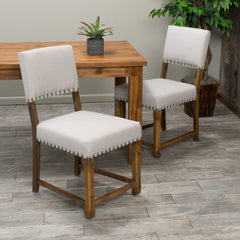 Aubrey Kindling Grey Fabric  Dining Chairs (Set of 2)