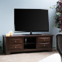 Brynlee Cappuccino Brown Wood Sliding Doors Entertainment Center