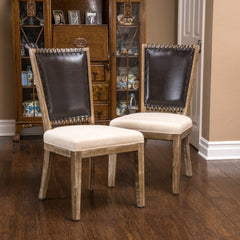 Amari Weathered Wood Beige Dining Chairs (Set of 2)