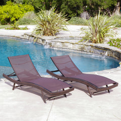 Eliana Outdoor Brown Mesh Chaise Lounge Chairs (Set of 2)