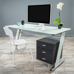 Genesis White Glass Computer Desk & Cabinet Drawers