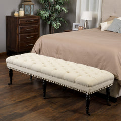 Dover Tufted Ivory Fabric Ottoman Bench