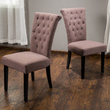 (Set of 2) Noel Mocha Fabric Dining Chair