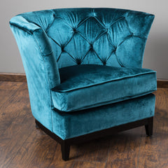 Anabella Teal Blue Tufted Velvet Sofa Chair