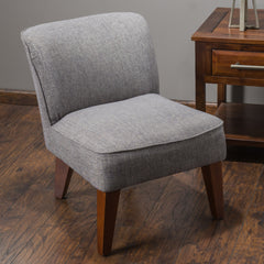 Alannah Steel Grey Fabric Accent Slipper Chair