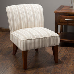 Alannah Cream Stripe Fabric Accent Slipper Chair