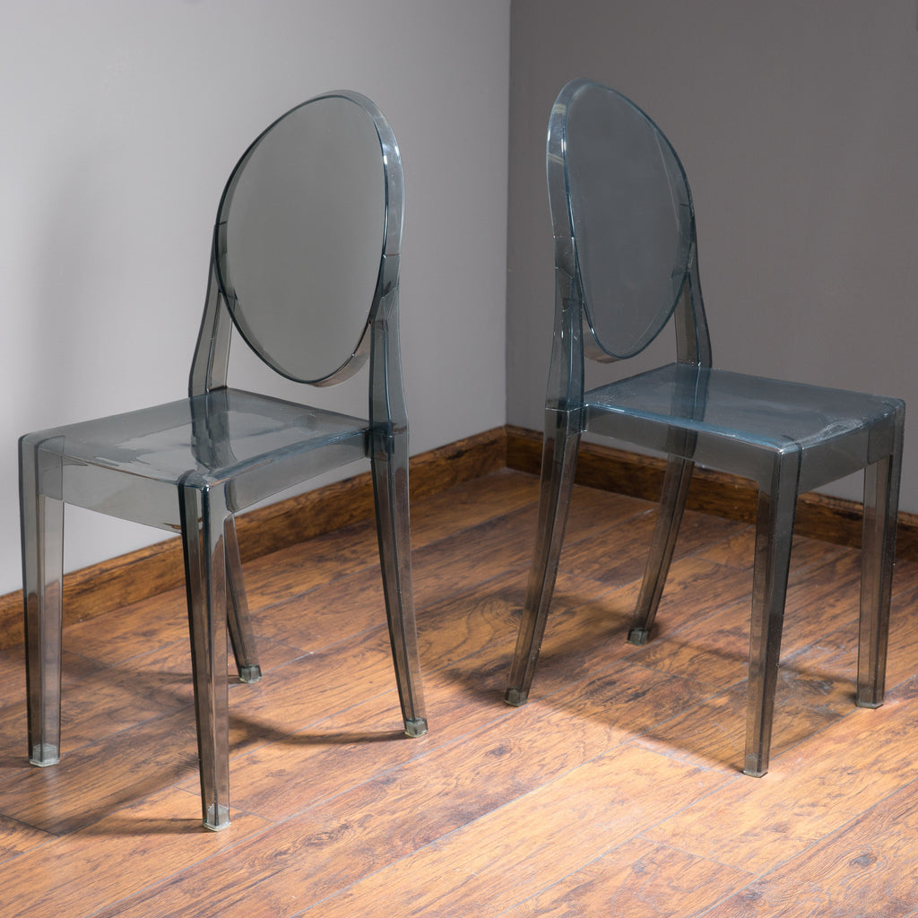 Cayden Transparent Black PC Ghost Accent Chairs (Set of 2)