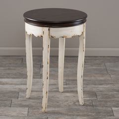 Clement Antique White Brown Wood Accent Table
