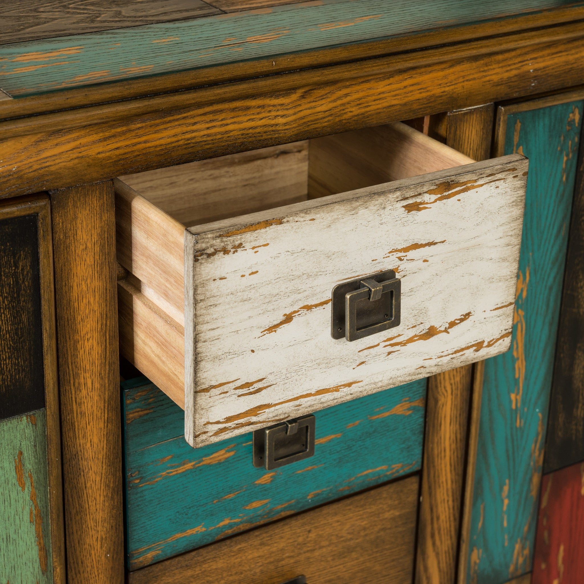wood finish store chest with mirrored dresser weathered