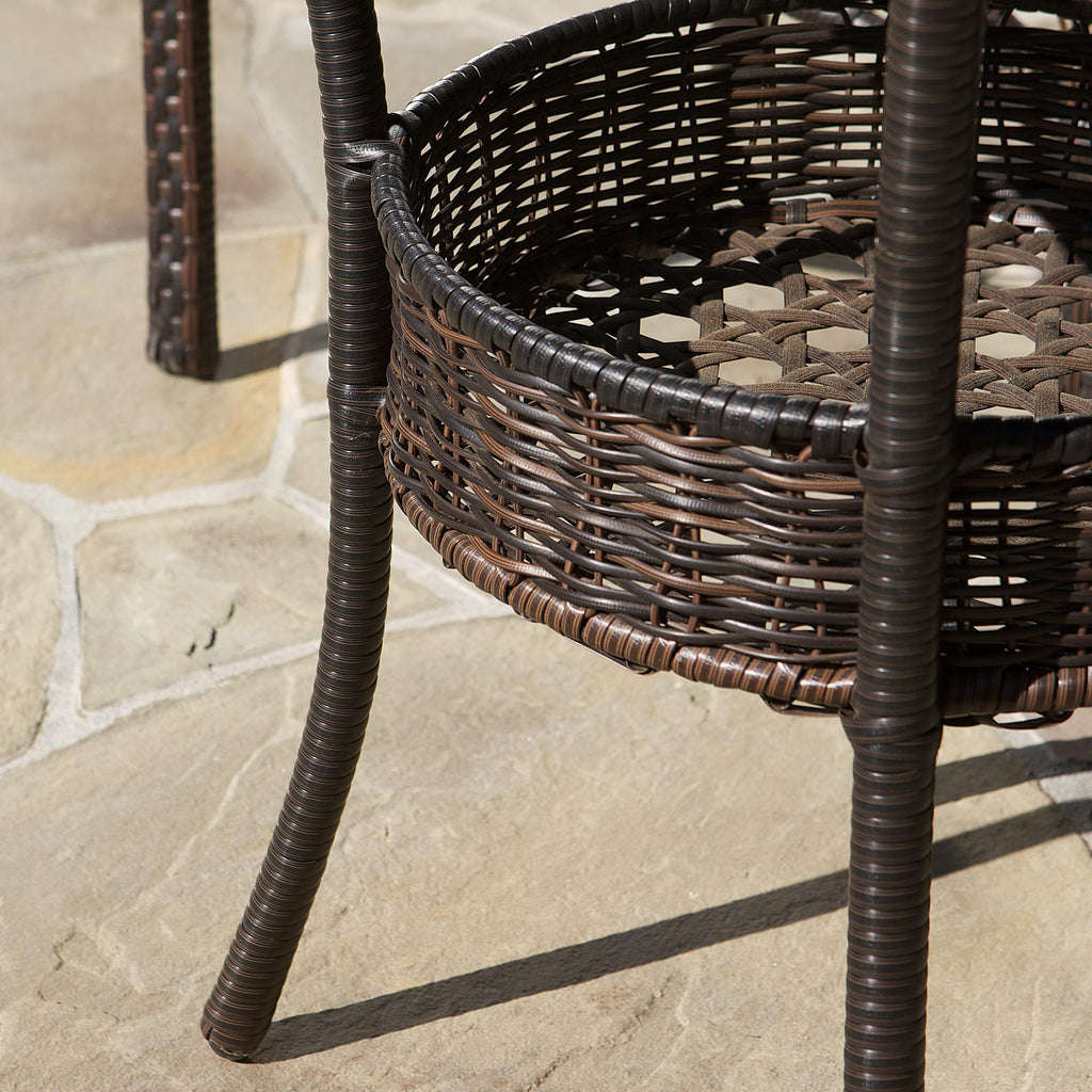 Michael Outdoor Multibrown Wicker  3pc Bistro Set