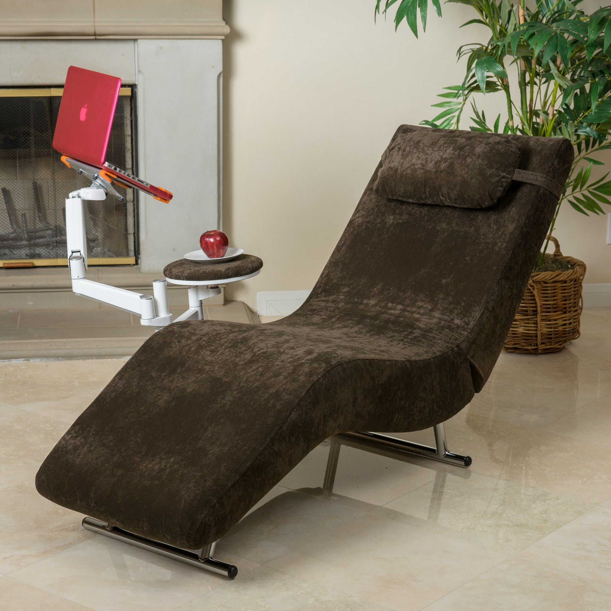 Chairs. Eason Chocolate Brown Velvet Adjustable Chaise Style Chair U0026 Tablet  Stand
