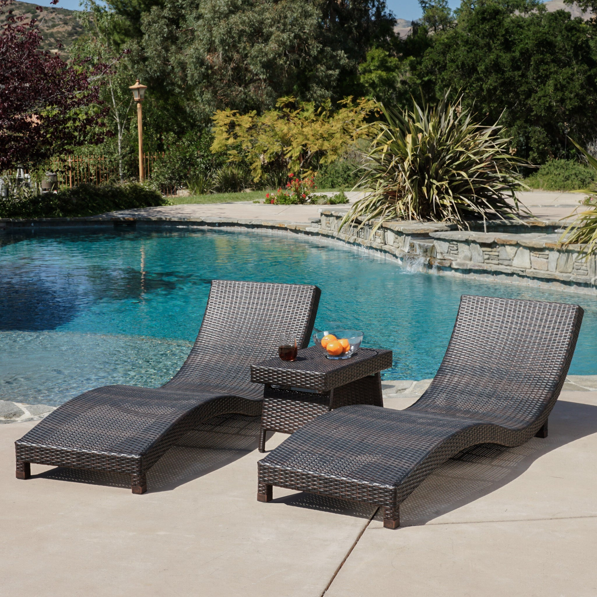 Grecian Outdoor 3pc Brown Wicker Chaise Lounge Chairs