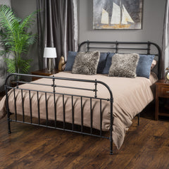 Amalia Queen Charcoal Metal Bed Frame