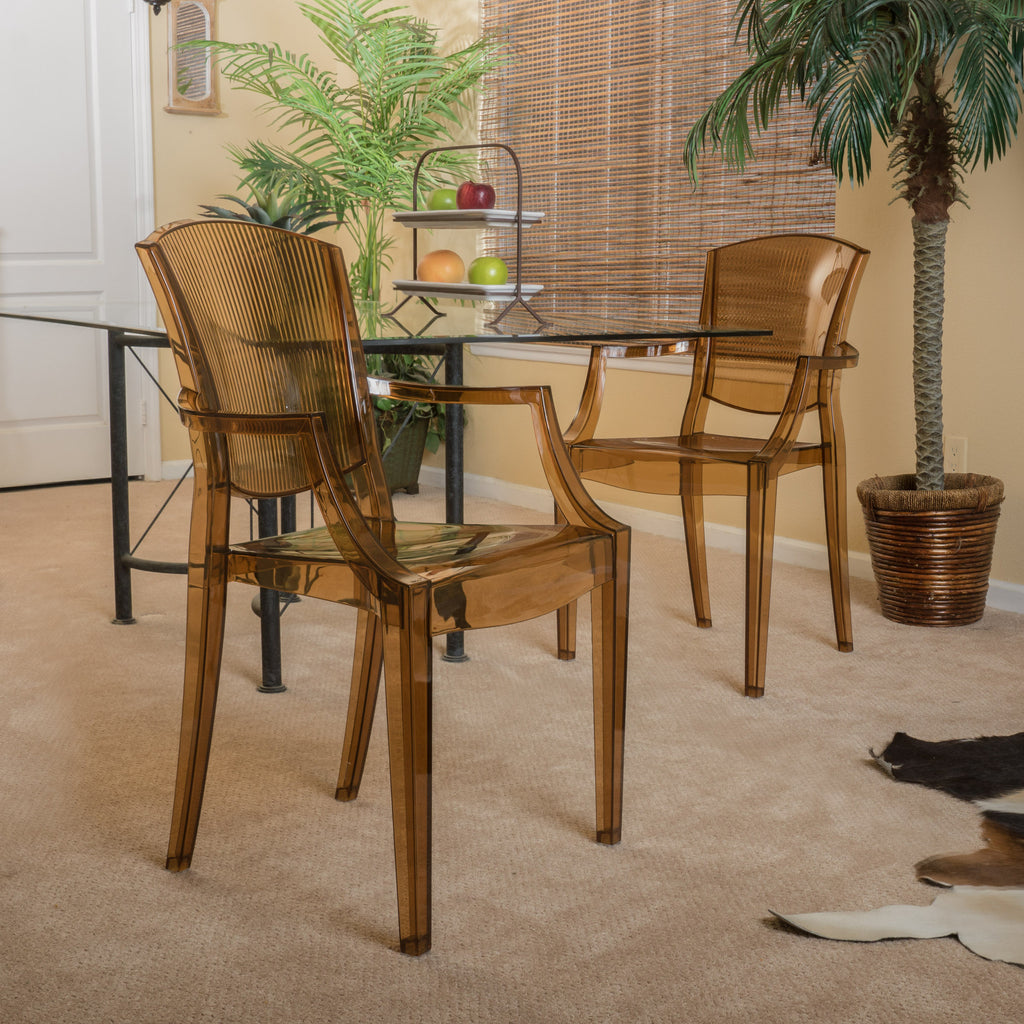 Carson Transparent Brown PC Ghost Accent Arm Chairs (Set of 2)