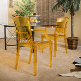 Carson Transparent Golden Yellow PC Ghost Accent Arm Chairs (Set of 2)