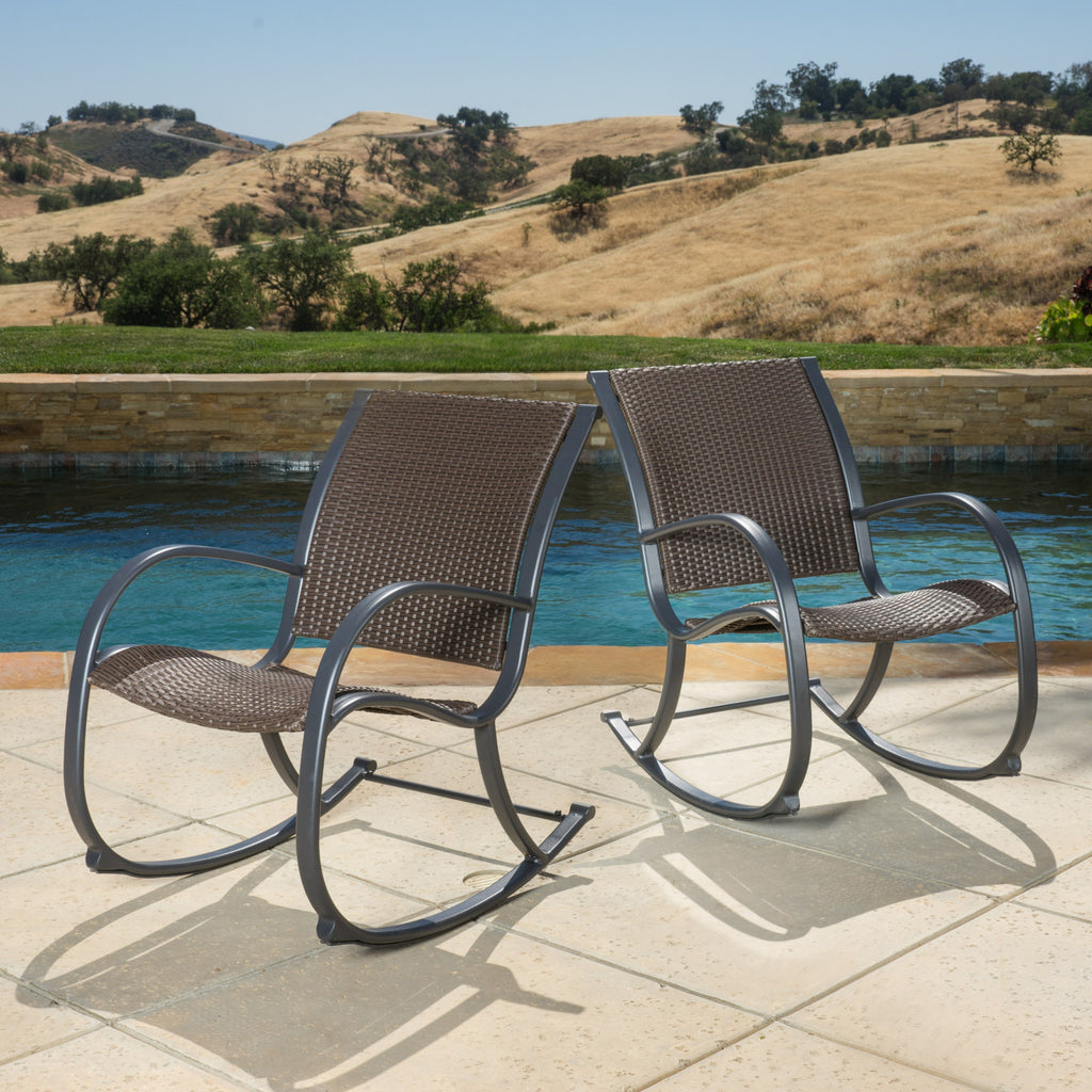 Leann Outdoor Dark Brown Wicker Rocking Chairs