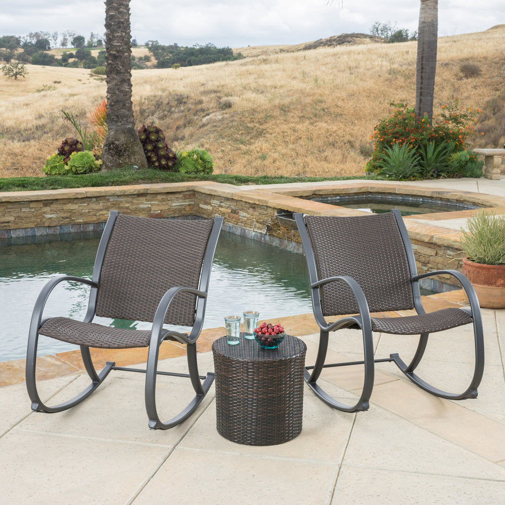 Leann Outdoor 3pc Dark Brown Wicker Rocking Chair Chat Set