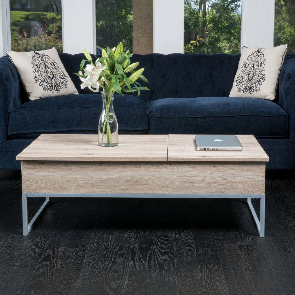 Cerise Sandy Brown Wood Lift Top Storage Coffee Table