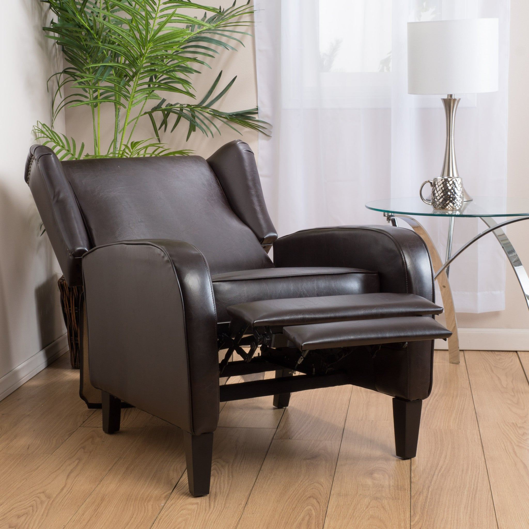 Hadley Espresso Leather Wingback Club Chair Recliner : recliner chairs canada - islam-shia.org