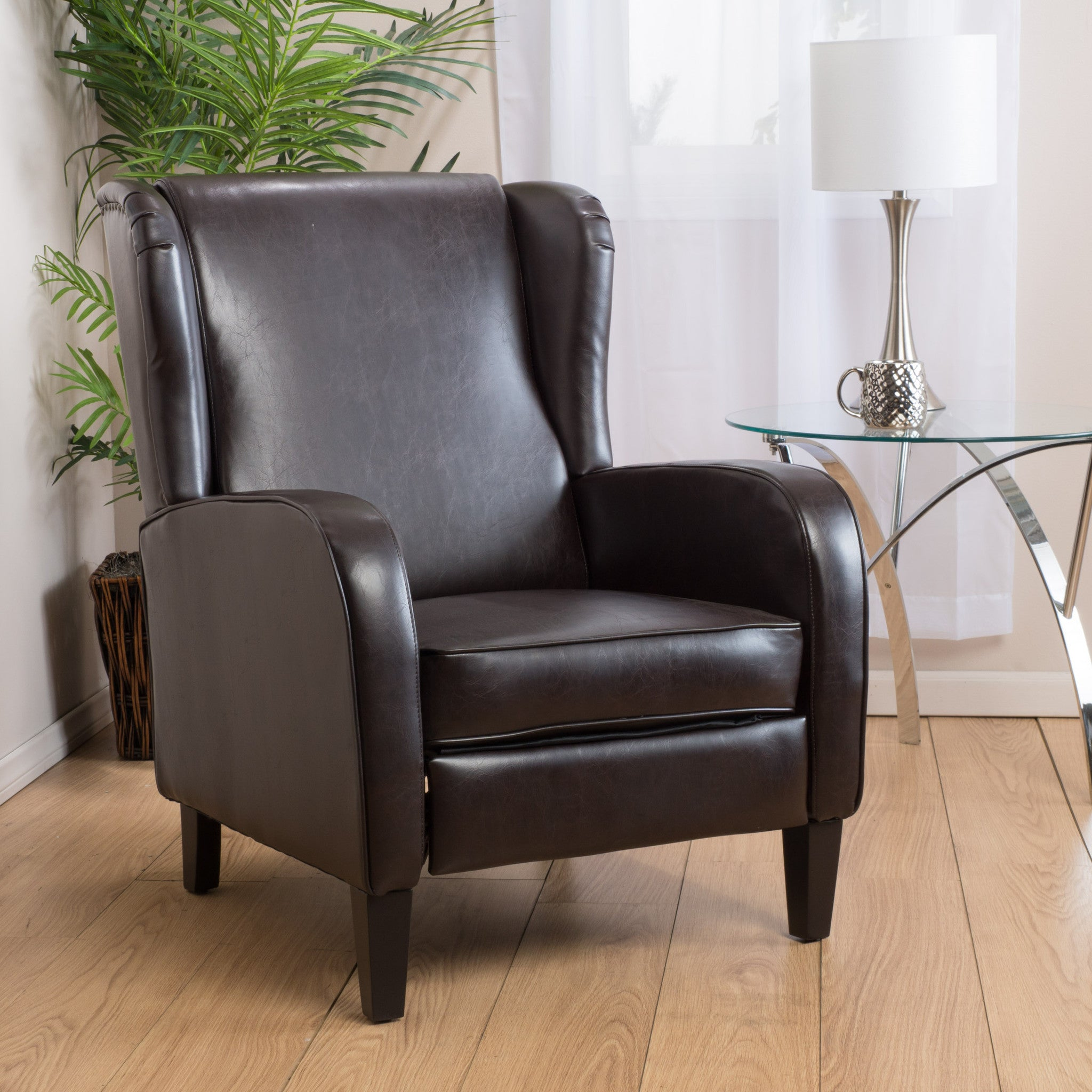 Leather Bedroom Chair Hadley Espresso Leather Wingback Club Chair Recliner Great Deal