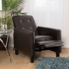 Deana Brown Tufted Leather Club Chair Recliner
