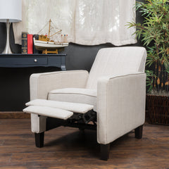 Nathan Light Beige Fabric Club Chair Recliner
