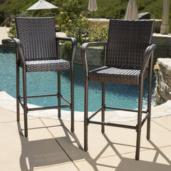 (Set of 2) Stewart Outdoor Brown Wicker Barstool