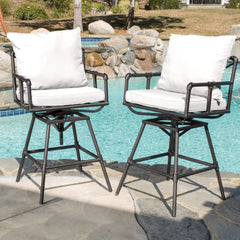 (Set of 2) Varick Outdoor Adjustable Pipe Barstool with Cushions