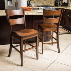 (Set of 2) Norman Dark Brown Wood Counter Stool