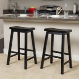 (Set of 2) Harrison Black Saddle Wood Barstool