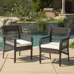 (Set of 2) Clara Outdoor Wicker Dining Chair with Cushion