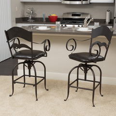 (Set of 2) Hale Black Iron Swivel Barstool