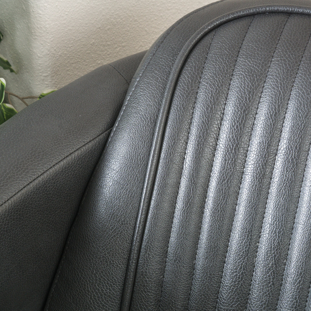 Lemay Channeled Grey Leather Club Chair